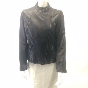Michael Kors Leather chocolate brown zip coat L